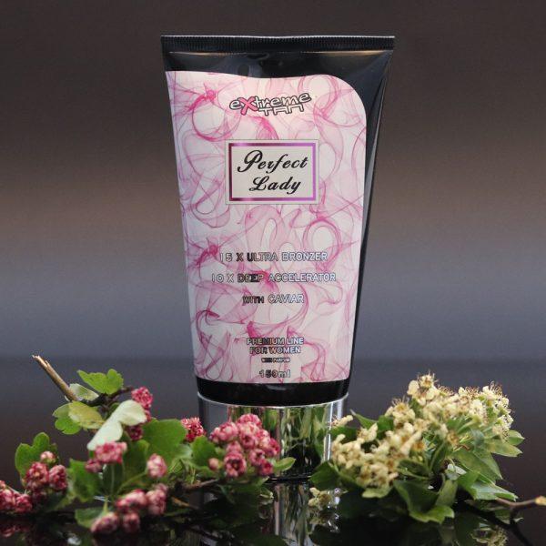 Tubka kosmetyku do opalania na solarium marki Extreme Tan, produkt Perfect Lady 150ml